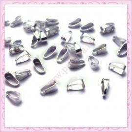 100 petites bélières 6mm argentées en métal