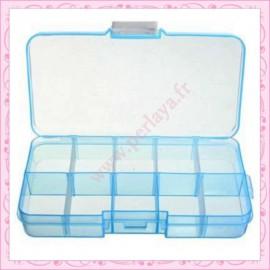 2 boîtes de rangement 10 compartiments bleu 13cm