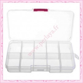2 boîtes de rangement à 10 compartiments blanches 13cm