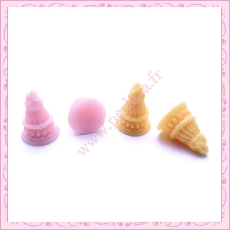 4 petits cornets glace en resine perlaya for Glace a coller