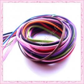 20 mètres de cordon imitation daim marron, noir, rose clair, bleu, bordeau, rose, orange, rouge, vert pomme, violet