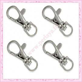 Lot de 20 petits mousquetons porte-clefs argentés de 2.3cm