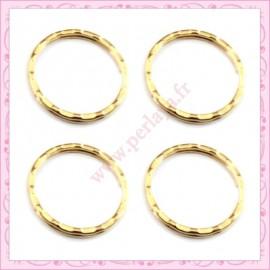 Lot de 20 anneaux porte-clefs 2.5cm dorés en métal