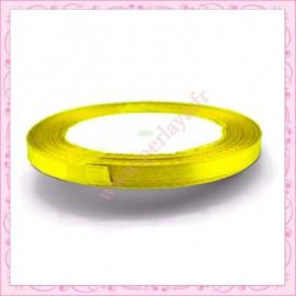 20 mètres de ruban satin 6mm jaune