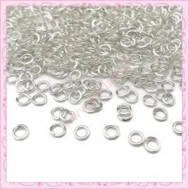 Lot de 500 anneaux en métal argentés 4mm