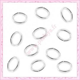 100 anneaux argenté ovale 5mm