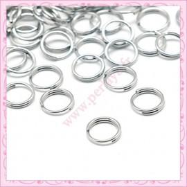 Lot de 400 anneaux doubles argentés 8mm