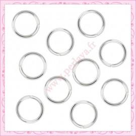 50 anneaux argentés 10mm