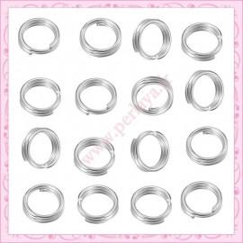 Lot de 500 anneaux doubles argentés 4mm