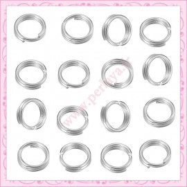Lot de 500 anneaux doubles argentés 5mm