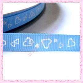 4 mètres de ruban 9mm bleu thème coeur
