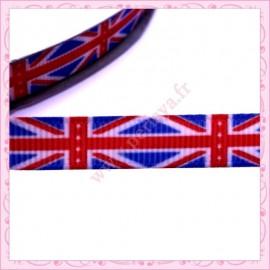 4 mètres de ruban 9mm thème drapeau anglais bleu blanc rouge