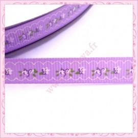 4 mètres de ruban 9mm violet motif fleur