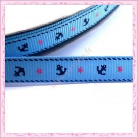 4 mètres de ruban bleu 9mm motif ancre