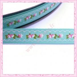 4 mètres de ruban bleu 9mm motif fleur