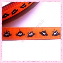 4 mètres de ruban orange 9mm motif araignée