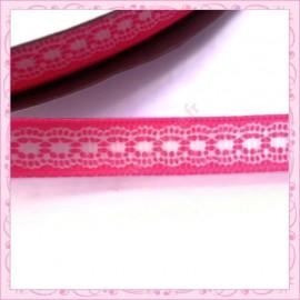 4 mètres de ruban rose 9mm motif dentelle