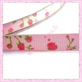 4 mètres de ruban rose 9mm motif fleur