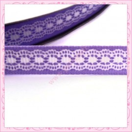 4 mètres de ruban violet 9mm motif dentelle