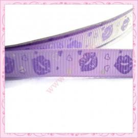 4 mètres de ruban violet 9mm motif bouche