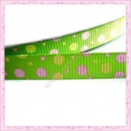4 mètres de ruban vert 9mm motif pois rose et jaune