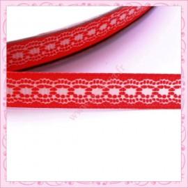 4 mètres de ruban rouge 9mm motif dentelle