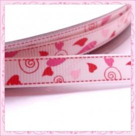 4 mètres de ruban rose et rouge 9mm motif coeur