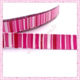 4 mètres de ruban rose 9mm motif rayure