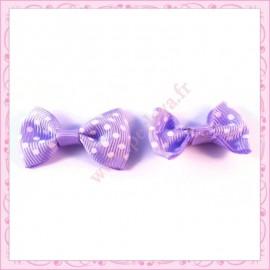 5 grandes appliques noeuds pois violette