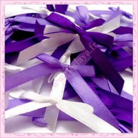mix de 50 noeuds satin violet, lilas et blanc