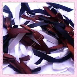 mélange de 50 noeuds satin noir marron blanc