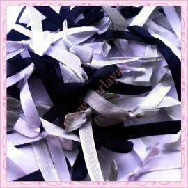 mélange de 50 noeuds satin noir, gris, blanc