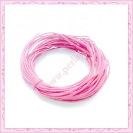 25 mètres de fil coton ciré rose 1mm