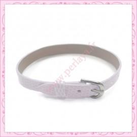 3 bracelets simili cuir blanc 22cm