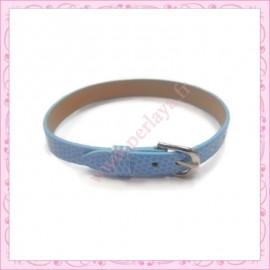3 bracelets simili cuir bleu 22cm