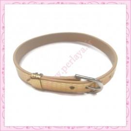 3 bracelets simili cuir doré 22cm