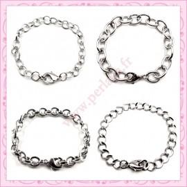 Mixte de 12 bracelets chaine en métal argentés foncés