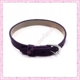 3 bracelets simili cuir violet 22cm