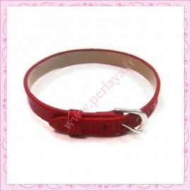 3 bracelets simili cuir rouge 22cm