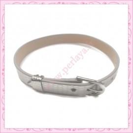 3 bracelets simili cuir argenté 22cm