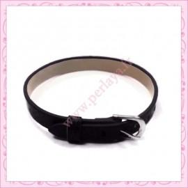 3 bracelets simili cuir noir 22cm