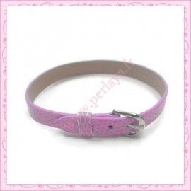 3 bracelets simili cuir rose 22cm