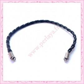 3 bracelets simili cuir tressés noir 22cm