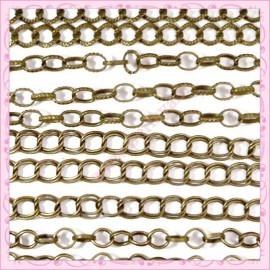 Mixte de 12 bracelets chaine en métal bronze