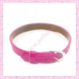 3 bracelets simili cuir rose fushia 22cm