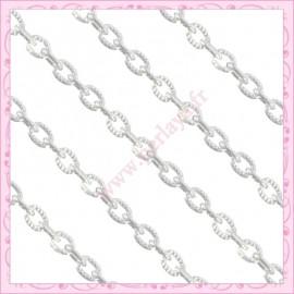 1 mètre de chaine strié argenté