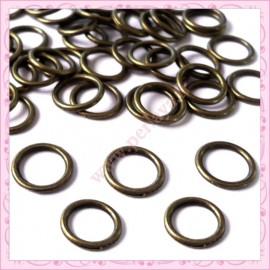 50 connecteurs anneaux fermés bronze 11mm