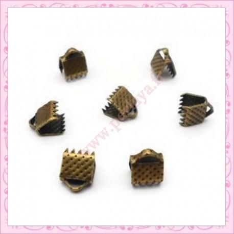 lot de 10 griffes ruban bronze 6mm