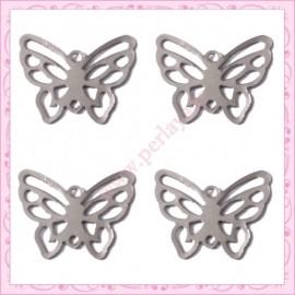 10 filigranes papillons argentées foncé