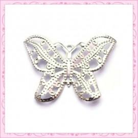 10 filigranes papillons argentées